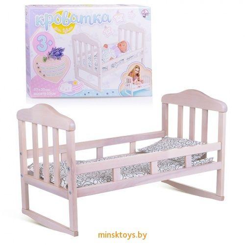 кроватка для кукол деревянная большая белая десятое королевство 02716дк